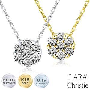 ネックレス レディース ダイヤモンド 0.1ct プラチナ PT900 ゴールド K18 LARA Christie ララクリスティー ダリア フラワー 0.1ct ダイヤモンドネックレス|sears-collection