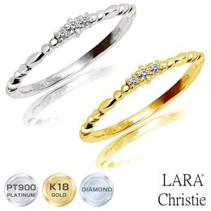 ピンキーリング ダイヤモンド 指輪 天然 計0.02ct PT900 K18 ゴールド LARA Christie ララクリスティー PLATINUM lr56-0003|sears-collection