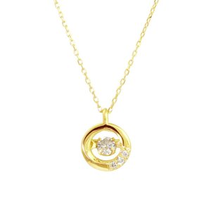 K10ゴールド 天然ダイヤモンド0.1ct ダンシングストーンネックレス 送料込|sears-collection