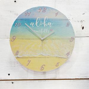 ウッドウォールクロック ハワイアンビーチ 海の写真 海岸 おしゃれな壁掛け 時計 木製 seashells-zakka