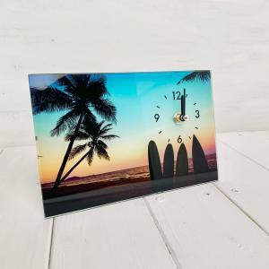 サンセットビーチ&パーム ガラススタンドクロック seashells-zakka