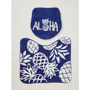 パイナップルのトイレマットとカバー ハワイアンデザイン おしゃれな便座カバー|seashells-zakka