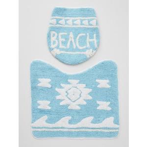 ビーチロゴ ハワイアンデザイントイレマットセット おしゃれな西海岸系サーフテイスト 蓋カバー|seashells-zakka