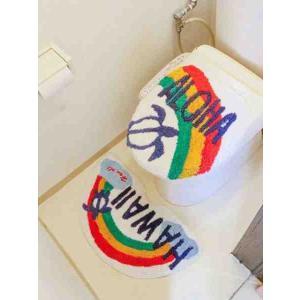 ホヌ&レインボウ おしゃれなトイレマット&カバー ハワイアンインテリア雑貨 セット|seashells-zakka