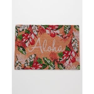コイヤーマット ALOHAハイビスカス おしゃれな玄関マット 屋外用ハワイアン雑貨|seashells-zakka