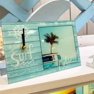 ハワイアンデザインワーゲンとヤシの木の写真 置き時計 おしゃれスタンドクロック seashells-zakka