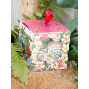 ハワイアンデザイン バスソルト プレゼントセット お風呂用品 おしゃれなちょっとした贈り物 スポンジ プルメリア|seashells-zakka