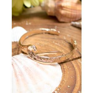 ハワイアンジュエリーデザインバングル ウェーブデザイン ラインストーン 波の柄 レディース ゴールド|seashells-zakka