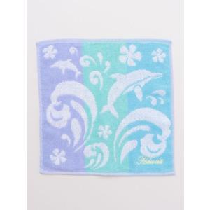 イルカのジャガード織りハンドタオル 海のデザインハンカチ ドルフィン ハワイアン柄|seashells-zakka