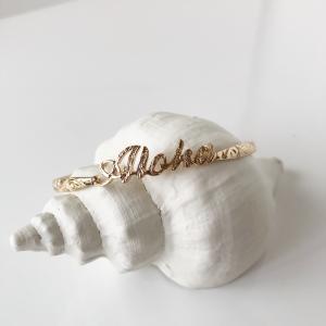 ハワイアンジュエリー調デザインバングル レディースアロハロゴブレスレット ペアアクセサリー ゴールド シルバー|seashells-zakka