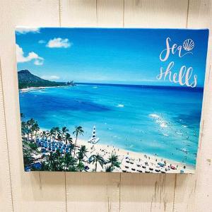 海の景色フォトキャンバス ワイキキ ハワイアンデザイン ビーチ 砂浜 おしゃれな写真|seashells-zakka