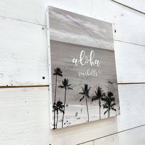 ヤシの木のキャンバスプリントピクチャー モノクロデザインフォト ビーチ 海の写真 おしゃれな雰囲気 ハワイアン|seashells-zakka