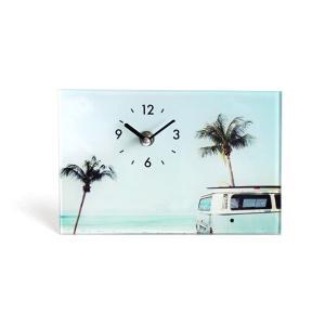 ワーゲンとヤシの木おしゃれなフォトクロック ガラススタンドクロック 置き時計 ハワイアンデザイン seashells-zakka