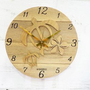 ホヌとプルメリアのウッドロゴラウンド壁掛け時計 ハワイアンデザイン カメ   seashells-zakka