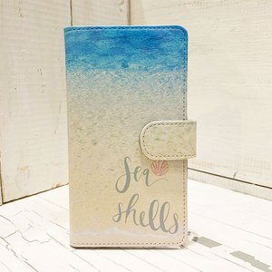 iphone手帳タイプ ビーチショア おしゃれなハワイアンデザイン ミラー付き リゾート スイカ パスモ|seashells-zakka