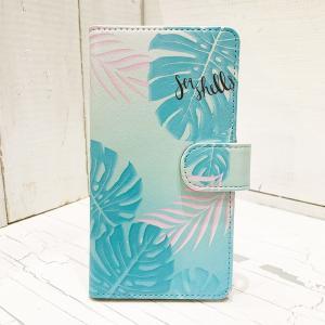 iphone手帳タイプ モンステラ おしゃれなハワイアンデザイン ミラー付き ヤシリーフ|seashells-zakka