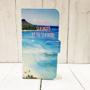 iphone手帳タイプ ダイヤモンドヘッド おしゃれなハワイアンデザイン ミラー付き ビーチ 海 スイカ パスモ カード入れ|seashells-zakka