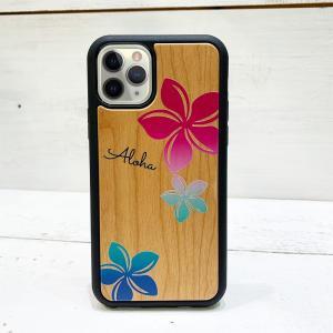 iphone用ウッドケース プルメリアグラデーションカラー ハワイアン柄 衝撃吸収タイプ 木製|seashells-zakka
