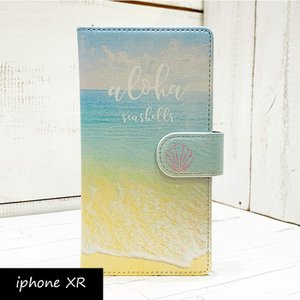 iphone手帳タイプ ビーチショア おしゃれなハワイアンデザイン ミラー付き 海の写真 リゾート パスモ スイカ|seashells-zakka