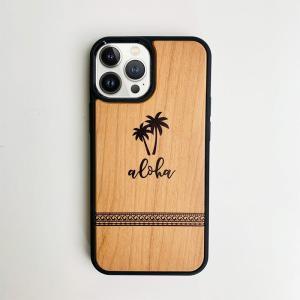 iphone用ウッドケース ヤシの木柄 ハワイアンデザイン 衝撃吸収タイプ 木製 南国|seashells-zakka