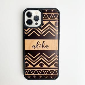 iphone用ウッドケース alohaロゴ柄 ハワイアン 衝撃吸収タイプ 木製 南国 おしゃれなデザイン ペンドルトン|seashells-zakka