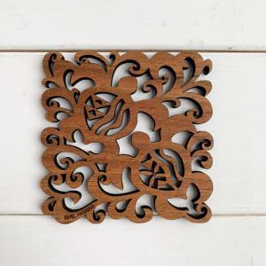 ハワイアンウッドコースター パイナップルのデザイン かわいいハイビスカス おしゃれな海亀 ホヌ 木製 seashells-zakka