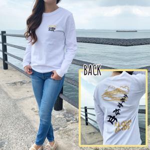 ハワイアンデザインロングTシャツ レディース海亀の長袖Tシャツ かわいいホヌのロングスリーブ ホワイトT アロハ|seashells-zakka