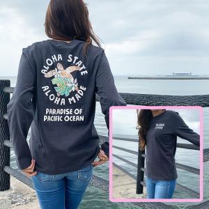 ハワイアンデザインロングスリーブTシャツ ホヌのイラスト おしゃれなチャコールグレー長袖Tシャツ レディース 女性|seashells-zakka
