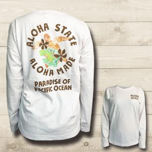 ハワイアンデザインロングスリーブTシャツ ホヌのイラスト おしゃれなホワイト長袖Tシャツ レディース 女性|seashells-zakka