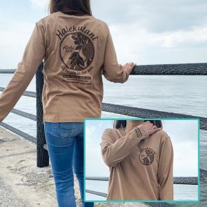 ハワイアンデザインロングスリーブTシャツ レディース長袖 おしゃれなベージュのロンT アロハ|seashells-zakka