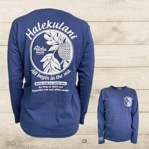 ハワイアンデザイン長袖Tシャツ レディースアロハプリントロングスリーブT ネイビー 紺色  |seashells-zakka