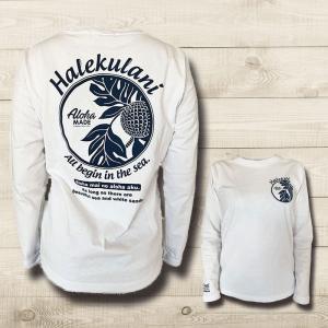 ハワイアンデザイン長袖Tシャツ レディースアロハプリントロングスリーブT 白  |seashells-zakka