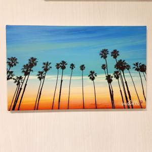 フォトキャンバスアート 海の写真 夕陽がおしゃれなポスター 壁掛け ハワイアン カリフォルニアスタイルインテリア サーフィン ヤシの木|seashells-zakka