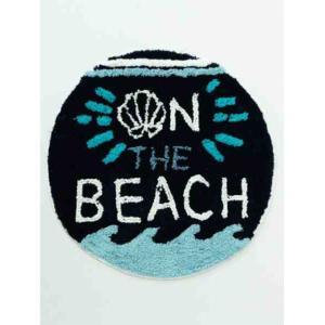 サークルマット Thebeach navy おしゃれなハワイアンインテリアマット|seashells-zakka