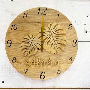 モンステラの壁掛けウッド時計 木製 おしゃれなインテリアクロック ハワイアン 丸 南国植物 見やすい大きめサイズ seashells-zakka
