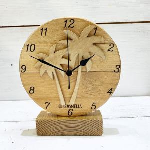 ウッドスタンド時計 木製ハワイアンデザイン ヤシの木 パームツリー 卓上ミニサイズクロック 小さめ置き時計 seashells-zakka