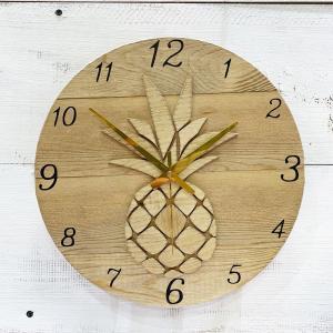 パイナップルのウッドロゴラウンド壁掛け時計 ハワイアン seashells-zakka