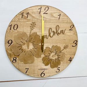 ハイビスカスの壁掛けウッド時計 木製 おしゃれなインテリアクロック ハワイアン 丸 南国植物 見やすい大きめサイズ seashells-zakka
