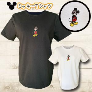 ミッキーマウス刺繍ロゴTシャツ ミッキーサングラスロゴショートスリーブカットソー ディズニー柄 レディーストップス半袖|seashells-zakka
