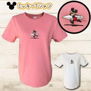 ミッキーマウス刺繍ロゴTシャツ ミッキーサーフボードロゴショートスリーブカットソー ディズニー柄 レディーストップス半袖|seashells-zakka
