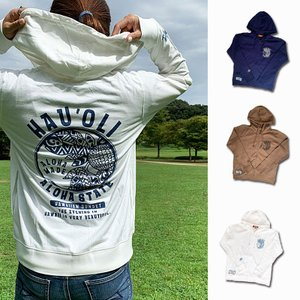ハワイアンレディースパーカー 長袖フード付きスウェット素材 ジップアップ帽子付き ポケット 薄手|seashells-zakka