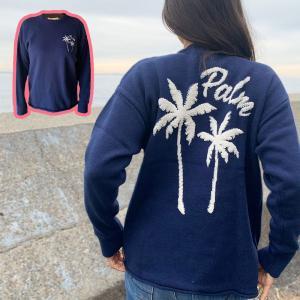 ヤシの木の刺繍デザインニットトレーナー ハワイアンデザイントップス レディーストレーナー 長袖|seashells-zakka