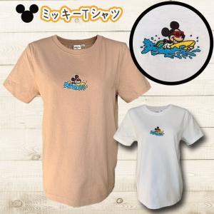 ミッキーマウス刺繍ロゴTシャツ ミッキーサーフボードパドルロゴショートスリーブカットソー ディズニー柄 レディーストップス半袖|seashells-zakka