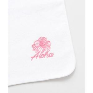 ハイビスカスのハンドタオル おしゃれな刺繍ハンカチ ハワイアンデザインタオル レディース贈り物|seashells-zakka