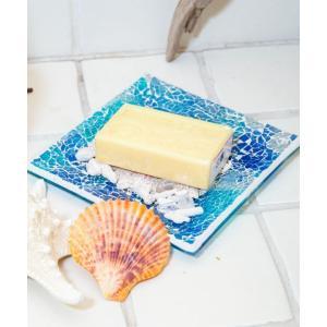 ビーチタイルトレイ ソープディッシュ アクセサリートレイ インテリア小物置き 石鹸置き きれいなガラスのお皿 seashells-zakka