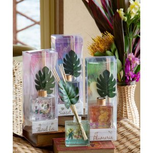 モンステラのハワイアンディフューザー 南国の香り おしゃれな入れ物 かわいいお部屋の芳香剤 ココナツ プルメリア|seashells-zakka