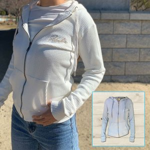 レディースジップパーカー ALOHA刺繍フード付きパーカー 長袖薄手トップス ハワイアンスタイルデザイン|seashells-zakka