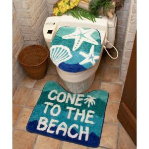 海のデザイントイレマット&カバー 貝殻とヒトデのイラストデザイン ハワイアンマットカバー リゾートビーチ柄 洗濯可能|seashells-zakka