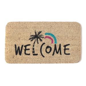ココナッツ繊維玄関マット ハワイアンデザイン敷マット ヤシの木のイラストマット おしゃれなカリフォルニア室内インテリアマット レインボー柄|seashells-zakka