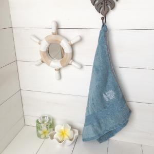 インディゴ染フェイスタオル サーフボード刺繍 ハワイアンデザイン 贈り物 プレゼント|seashells-zakka